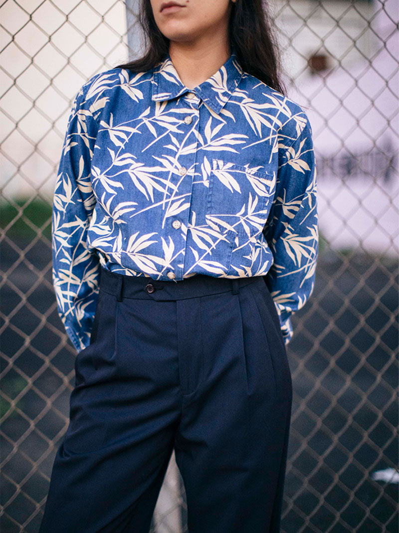 Denim bamboo print shirt