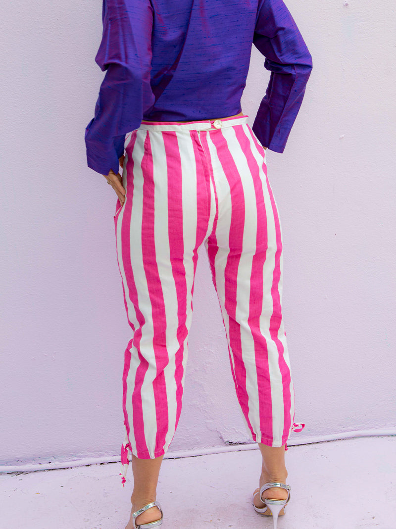 Vintage pink & white stripe pants