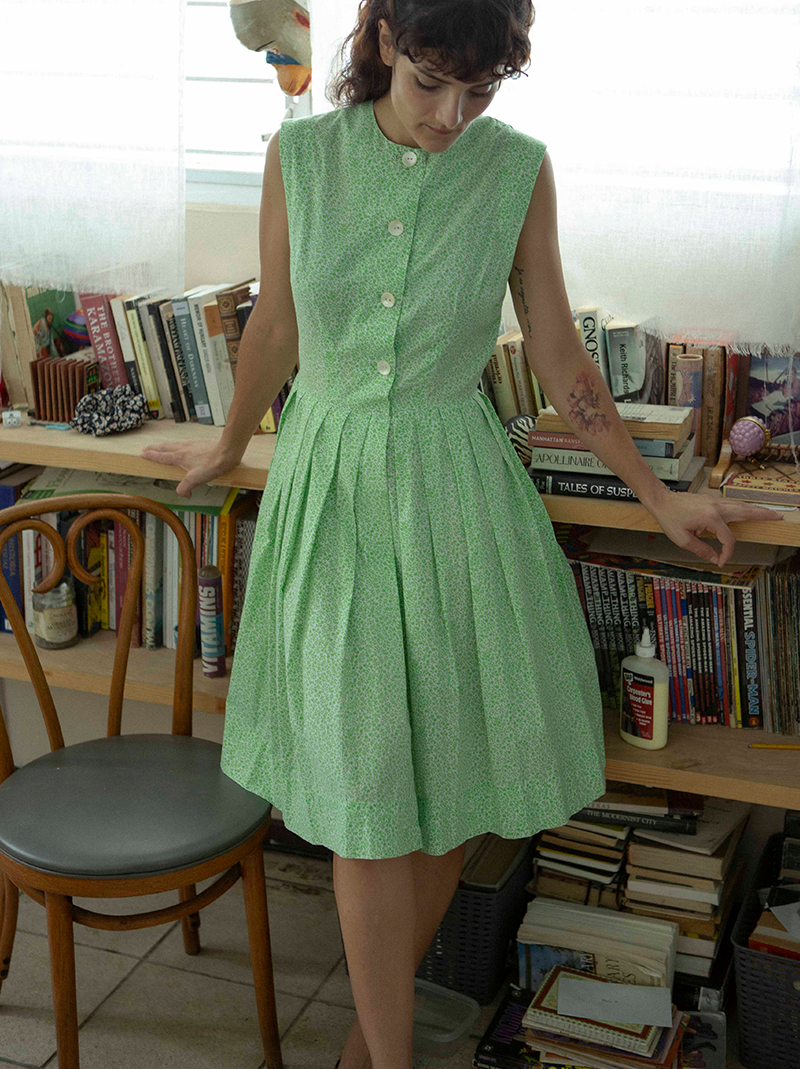 1950's ultra soft green dress
