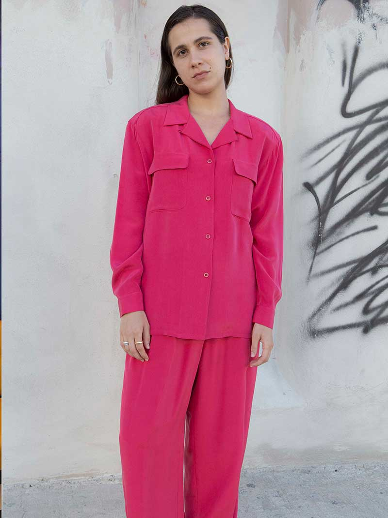 Pink silk pant & blouse set