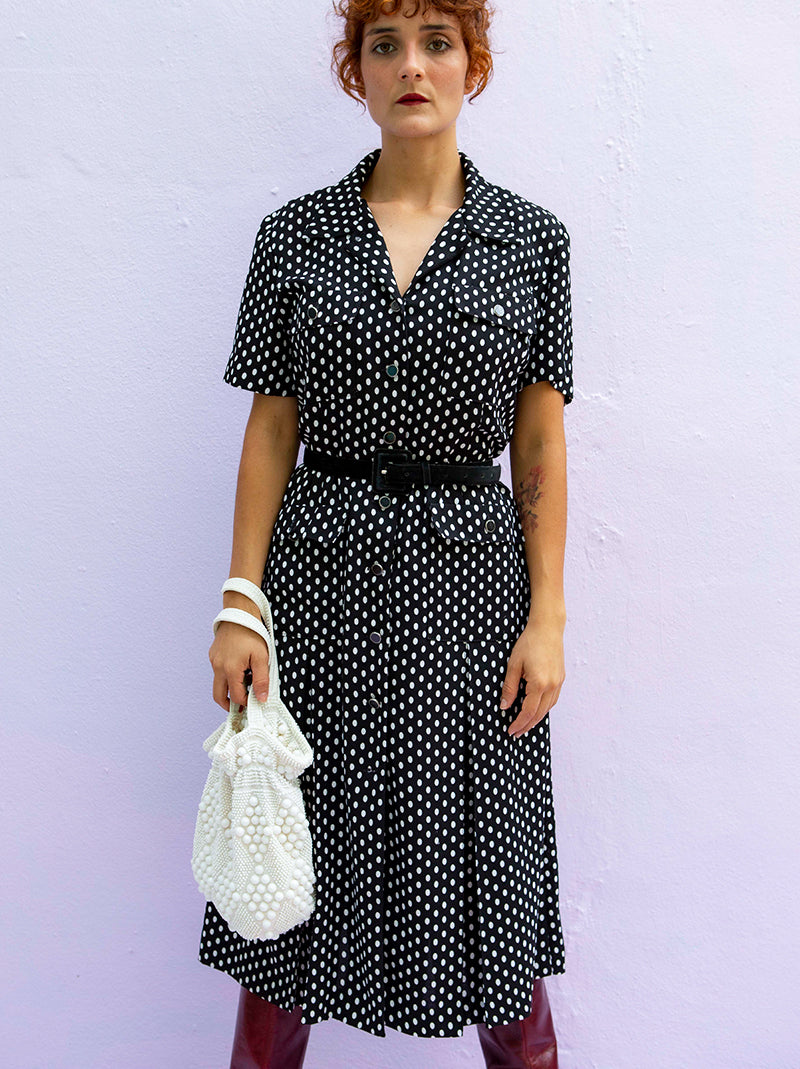 vintage 80s Leslie Fay polka dot black dress