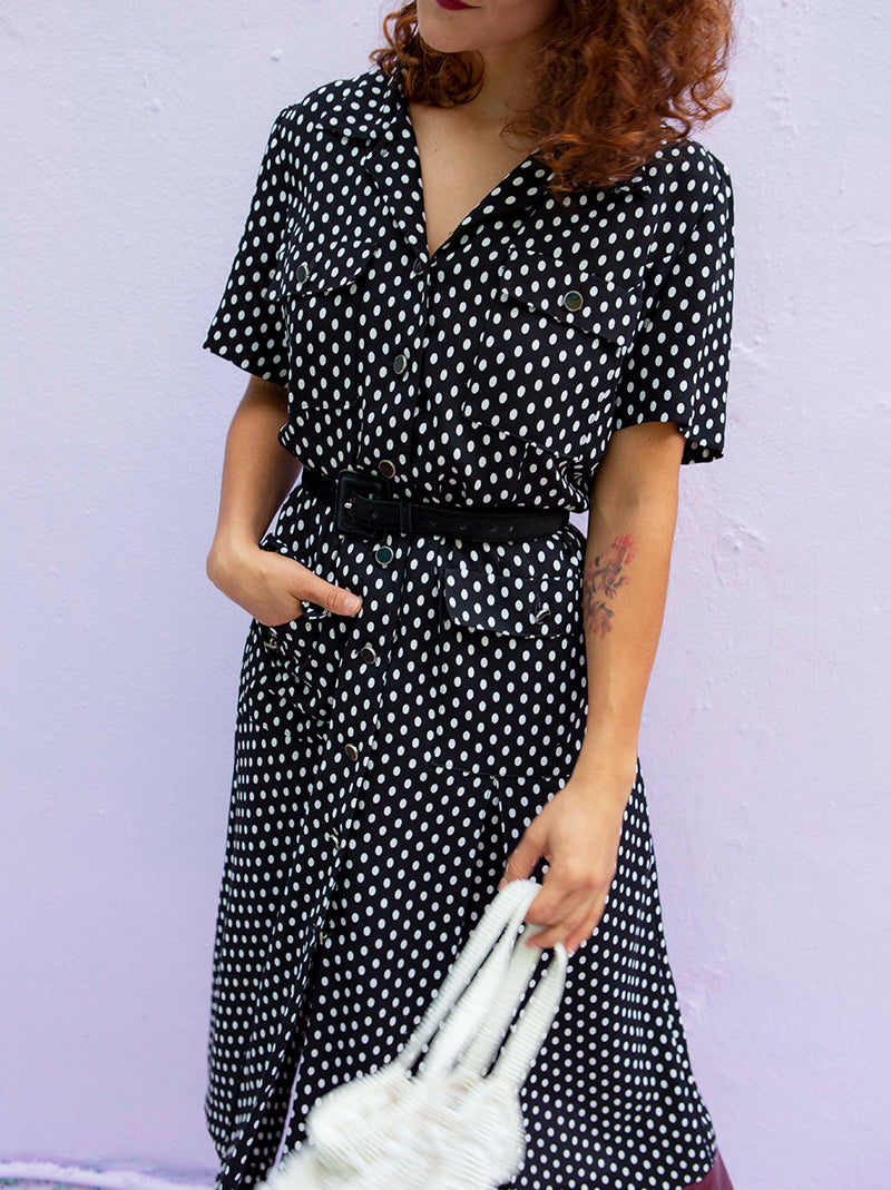 Casual black vintage polka dot short sleeve dress