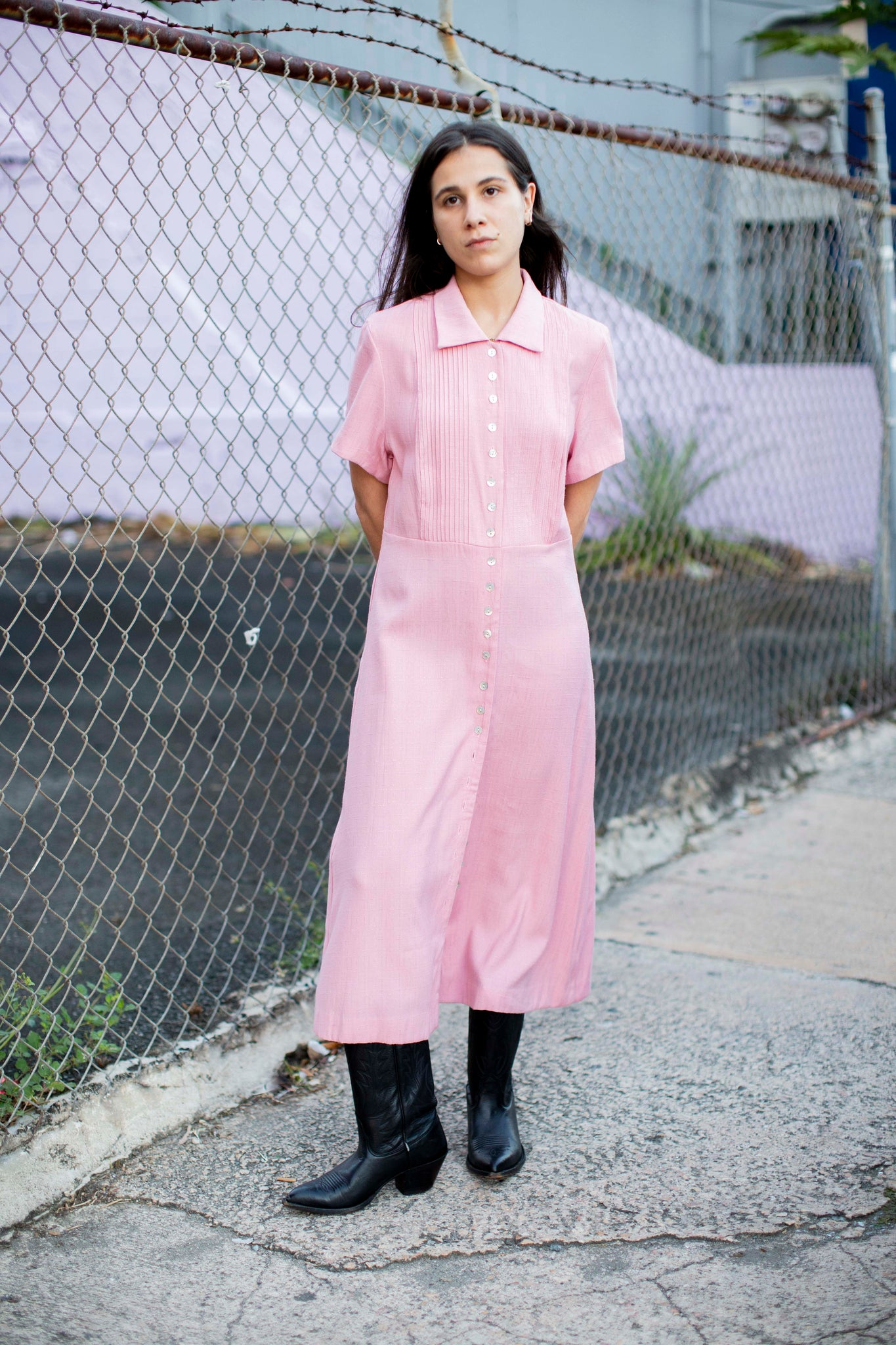 Adorable pink button down dress