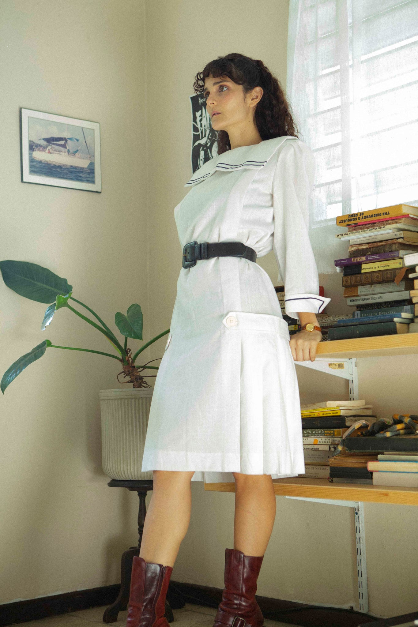 1980s White sailor dress