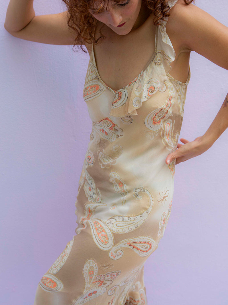 cream paisley slip dress 90s vintage