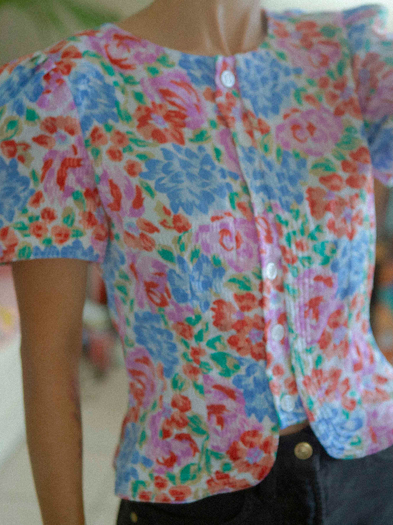 Vintage silhouette flower blouse made in Korea