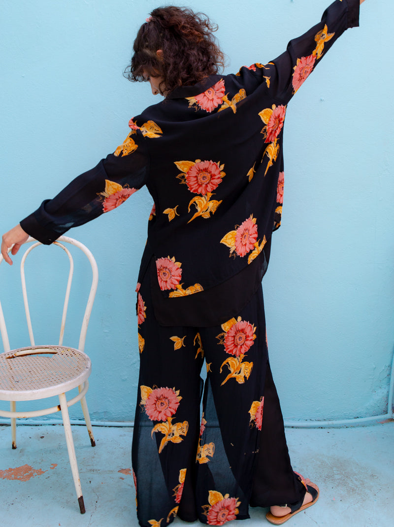 Coolest boho set black flower vintage blouse & pants