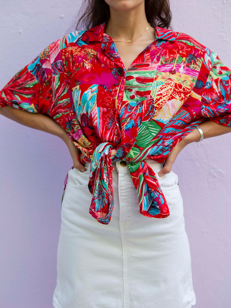 Short Sleeve Button Up Tropical Shirt