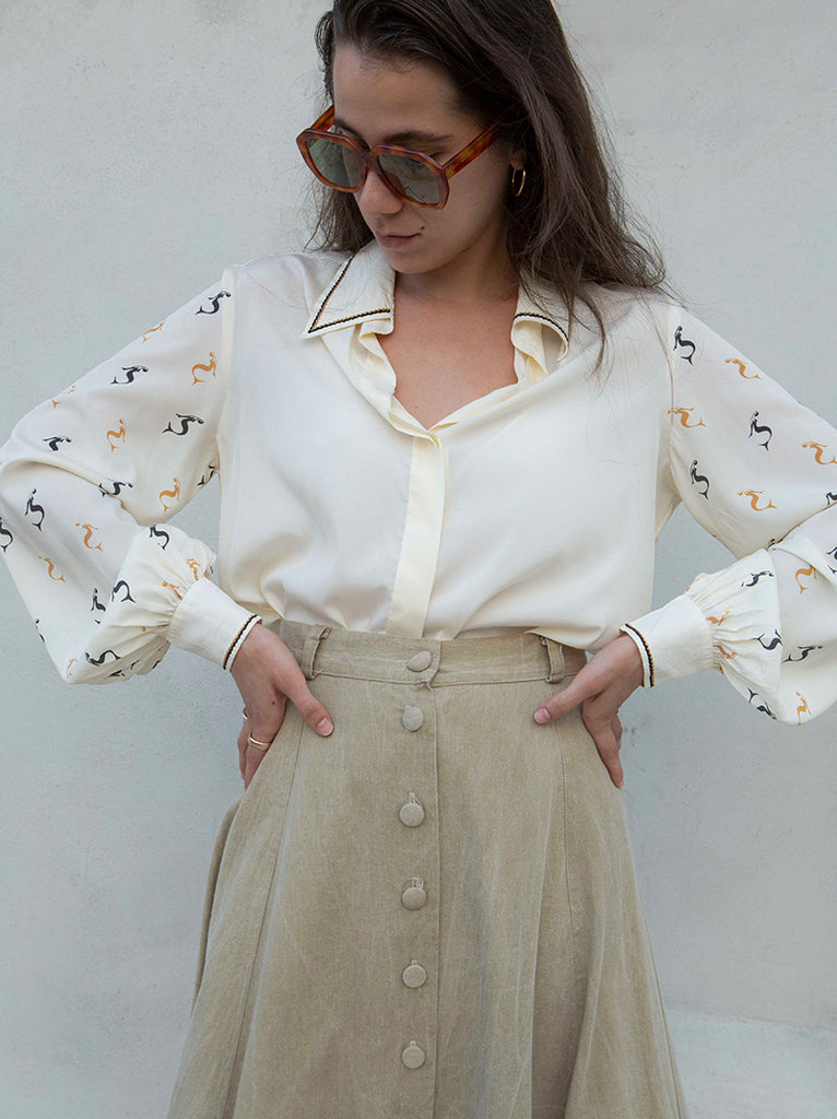 1970's French designer elegant long sleeve blouse