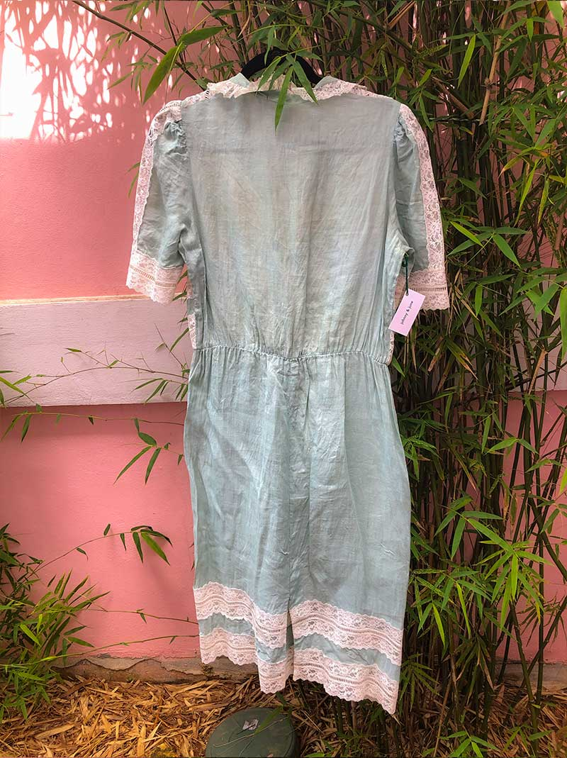 Vintage light teal linen dress with lace details