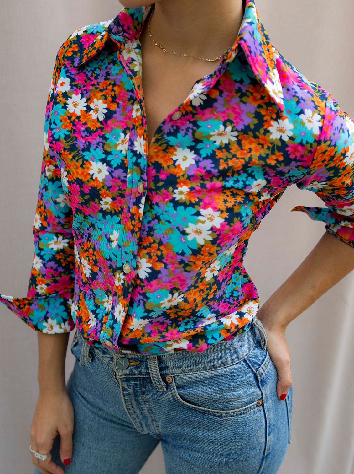 Vintage 70's flower shirt blouse