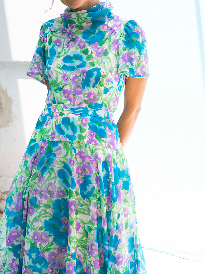 Flower print summer long dress short sleeve