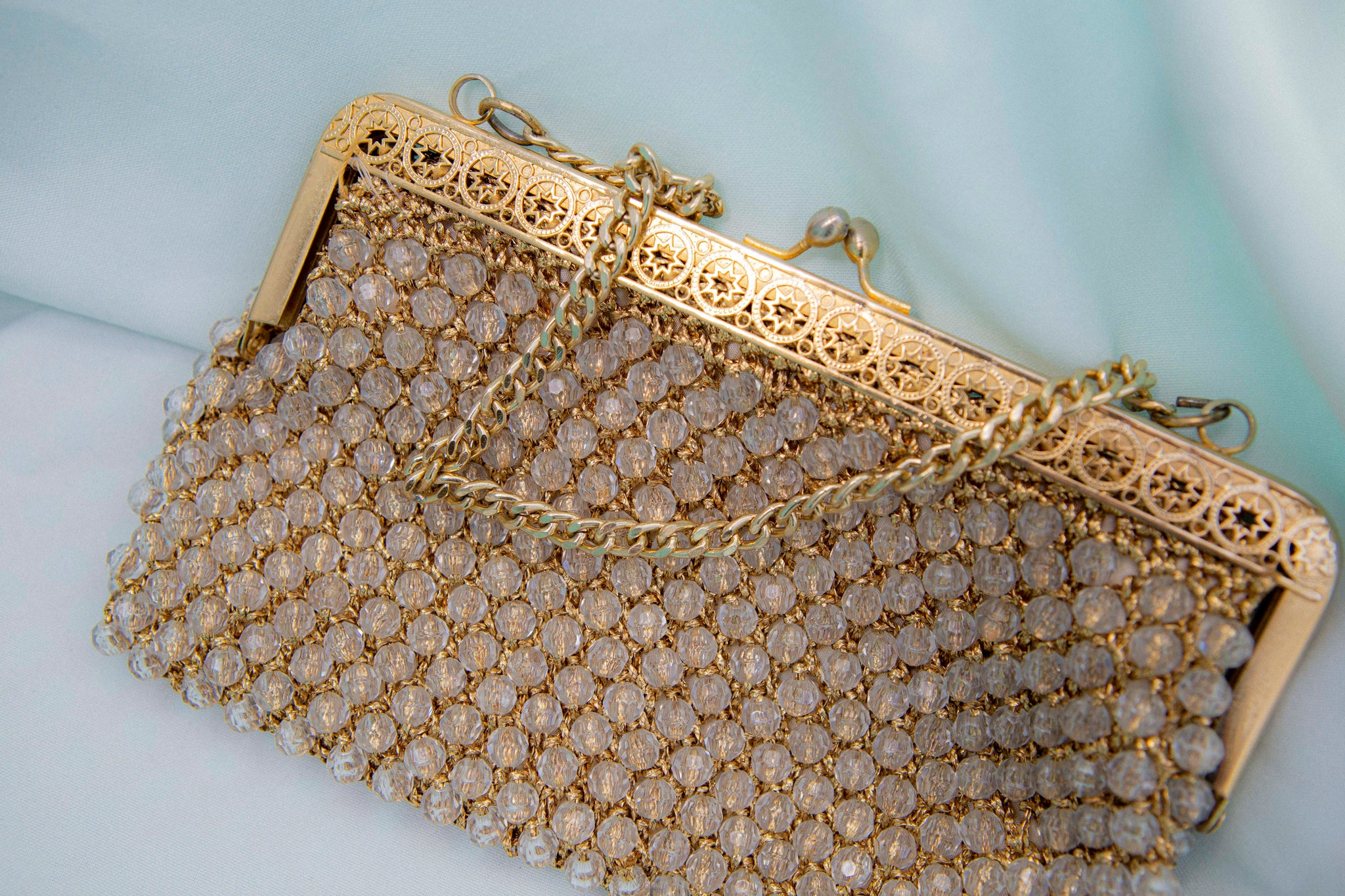 gorgeous vintage clear beaded purse