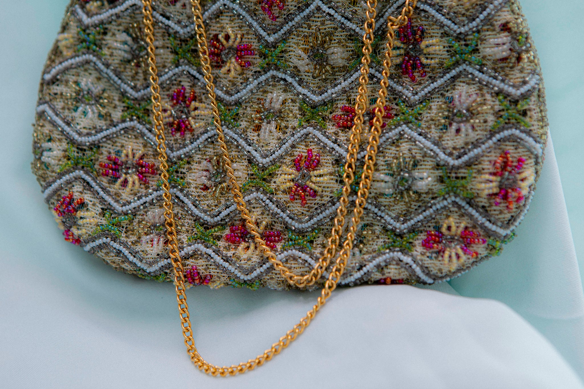 Colorful vintage 1950's beaded hand bag