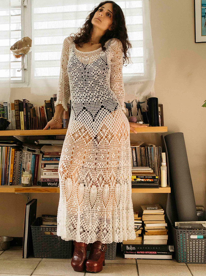 Vintage pearl white hand embroidered dress from Moca, PR