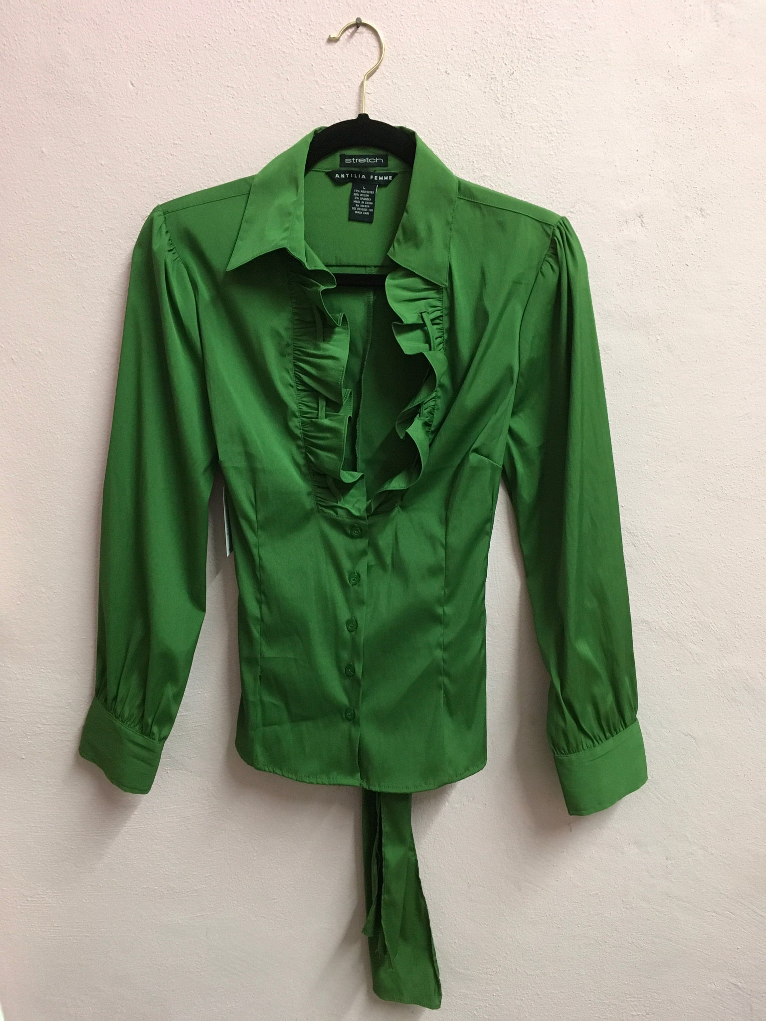Early 2000s Green Ruffle Blouse