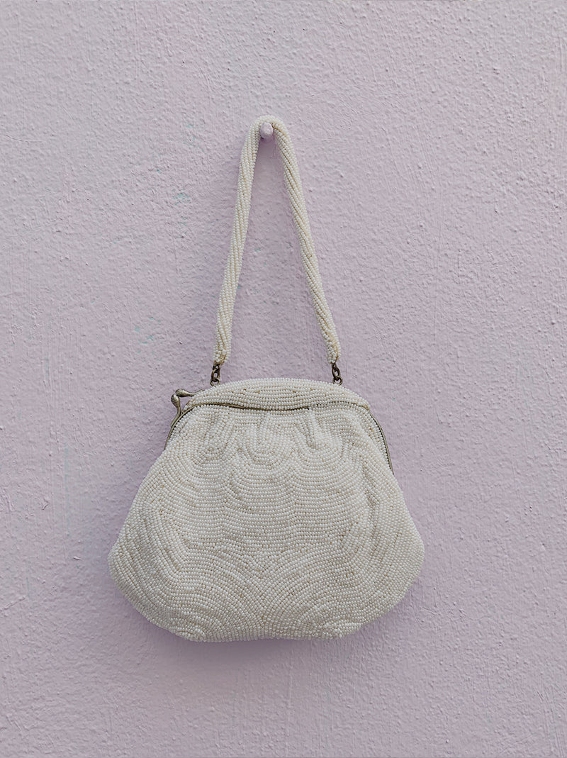 Vintage 1950's white beaded bag