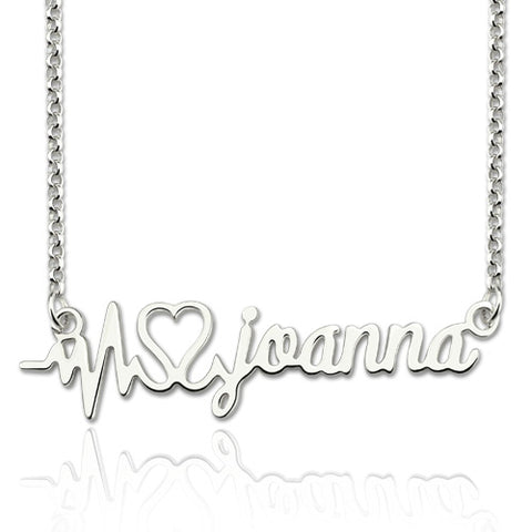 Heart Beat Custom Initial Necklace