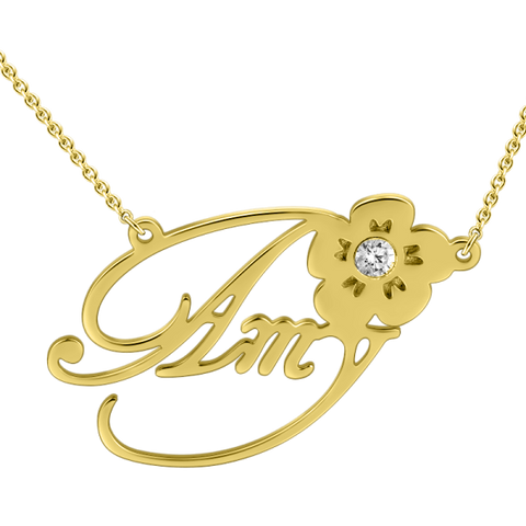 Flower Custom Gold Nameplate Necklace