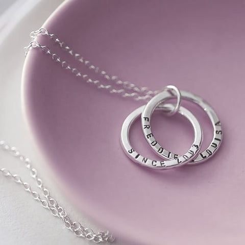 Double Loop Engraved Necklace