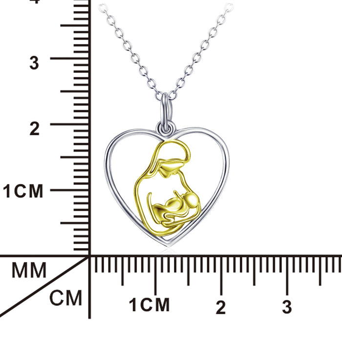 Hold You Gently-925 Sterling Silver Non-Personalized Heart Pendant Necklace