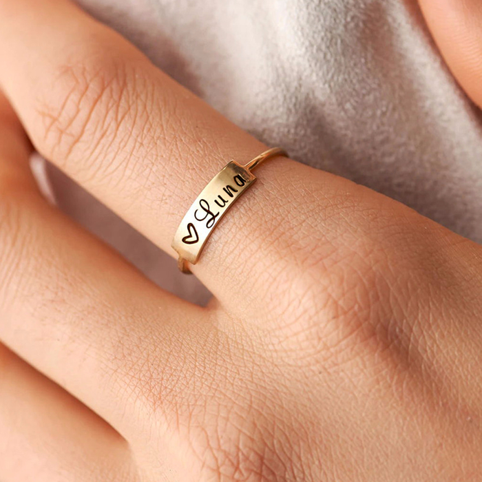 Copper/925 Sterling Silver Personalized Engraved Inspirational Simple Ring