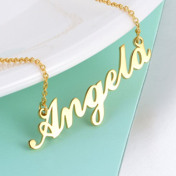"Angela - Copper/925 Sterling Silver Personalized Name Necklace Adjustable Chain 16""-20"""
