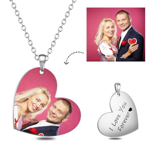 "Stainless Steel Personalized Heart Color Photo&Text Necklace Adjustable 16""-20"""