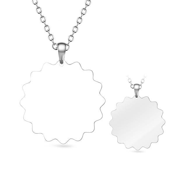 "Stainless Steel Personalized Sunflower Color Photo&Text Necklace Adjustable 16""-20"""