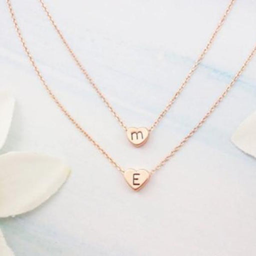 "925 Sterling Silver Personalized Mother & Daughter Initial Heart Necklaces Adjustable 16""-20"""