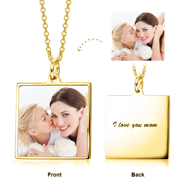 925 Sterling Silver Color Photo Message Necklace