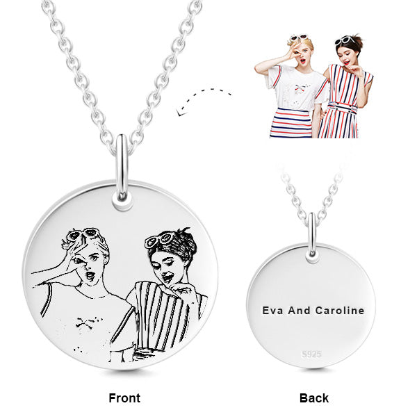 925 STERLING SILVER ENGRAVABLE PHOTO AND LETTERS ROUND HANG TAG NECKLACE