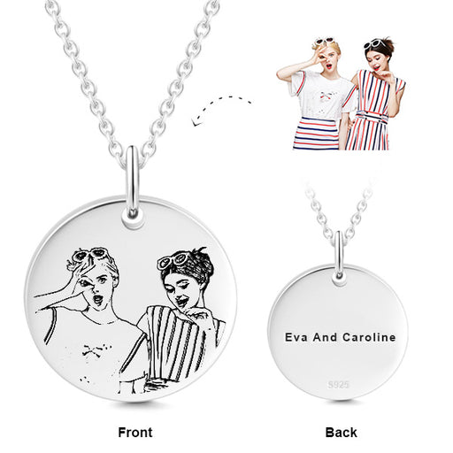"925 Sterling Silver Personalized Engravable Photo Hang Tag Necklace Adjustable 16""-20"""