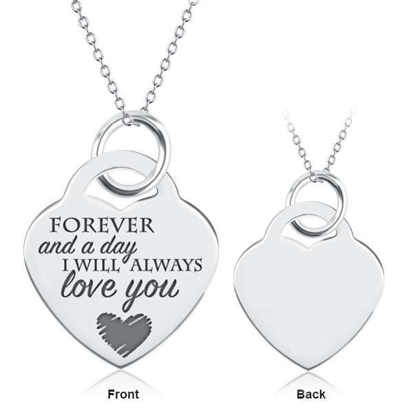 """Love 's Proverbs"" Copper/925 Sterling Silver Personalized Heart Necklace-Adjustable 16""-20"""