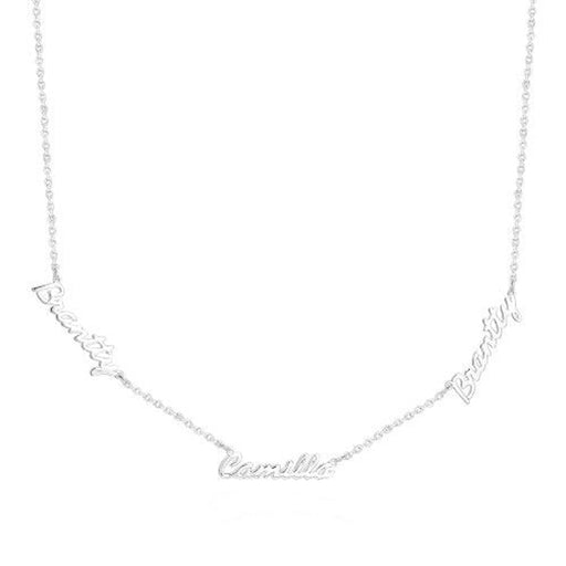 "Three Name 925 Sterling Silver Personalized Family Name Necklace Adjustable Chain 16""-20"""