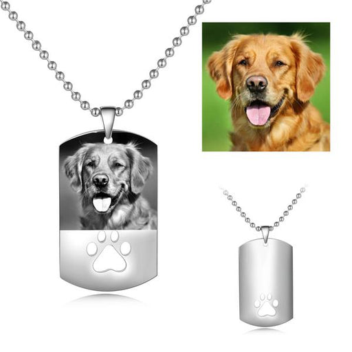 "Stainless Steel Personalized Color Photo&Text Necklace with Footprint Adjustable 16""-20"""