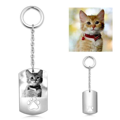 Stainless steel Personalized Engraved Photo Key Chains