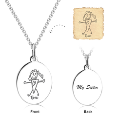 Kids Engraved Photo Necklace