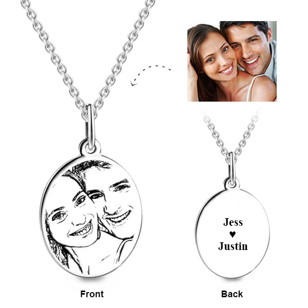 COPPER PERSONALIZED PHOTO ENGRAVED OVAL PENDANT NECKLACE