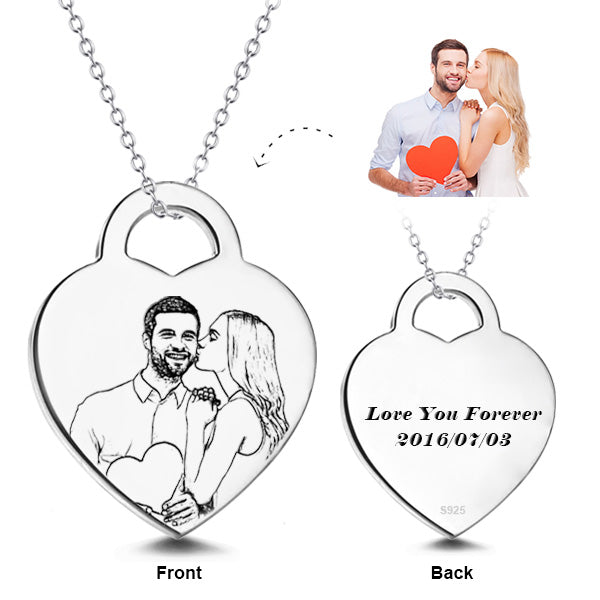 "Put You In My Heart - 925 Sterling Silver Personalized Engraved Photo Necklaces Adjustable 16""-20"""