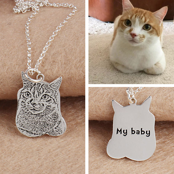 "925 Sterling Silver Personalized Pets Photo Engraved Necklace Adjustable 16""-20"""