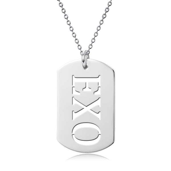 "K-Pop Star Name Tag- Personalized 925 Sterling Silver  Necklace Adjustable 16""-20"""