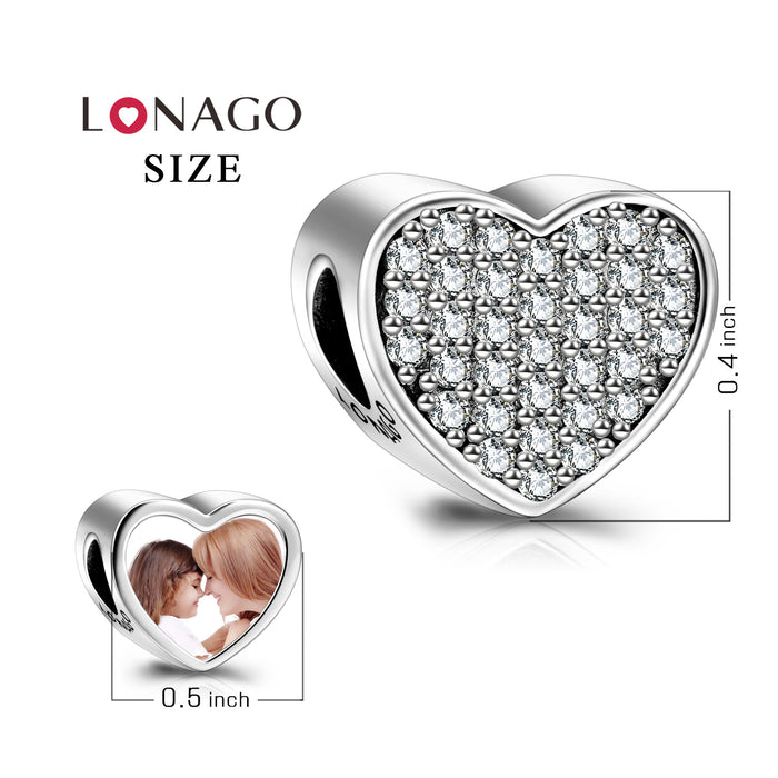 Personalized Color Photo Rhinestone Love Heart Charm in 925 Sterling Silver