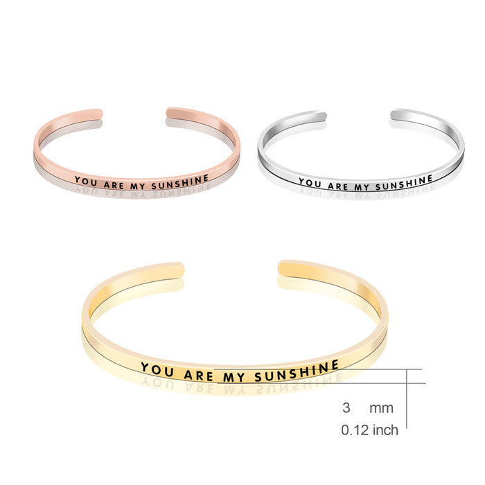 925 Sterling Silver You Are My Sunshine Bangle Bracelet