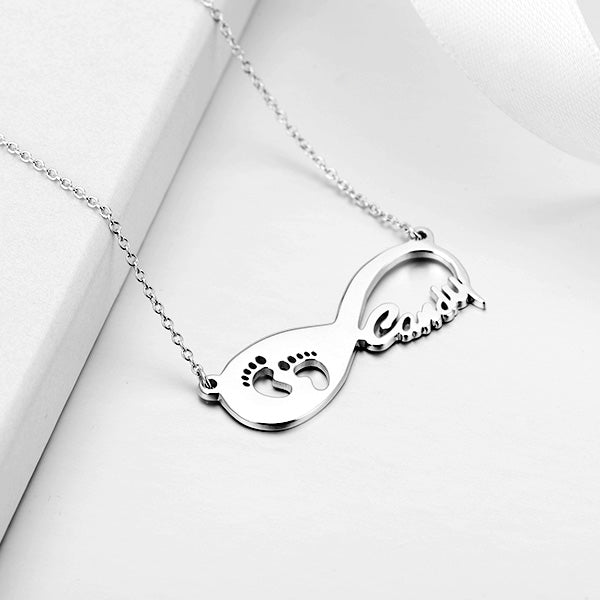 Footprint Infinity Name Necklace-Silver/14K Gold