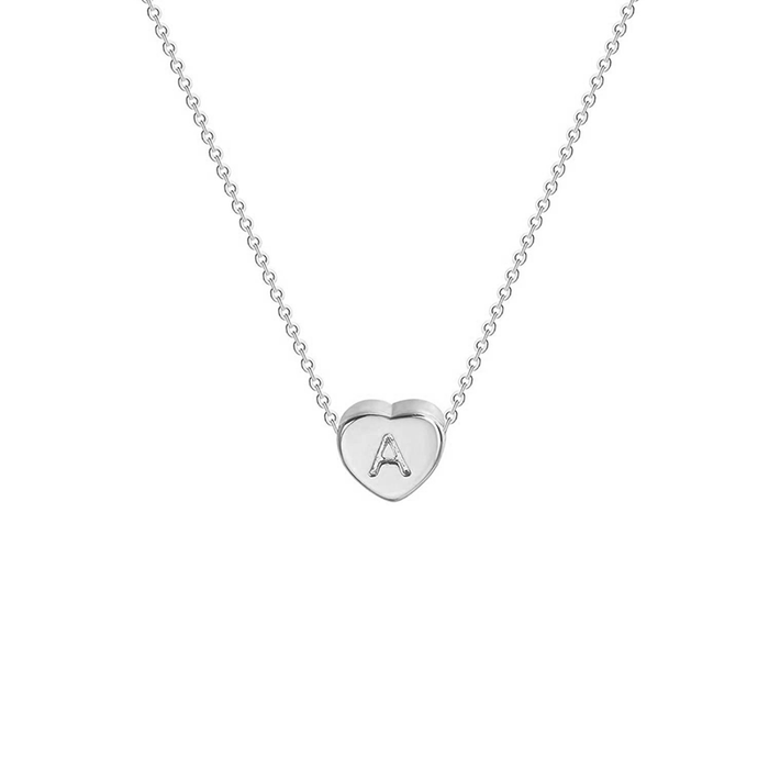 "925 Sterling Silver Personalized Tiny Initial Heart Necklace Adjustable 16""-20"""