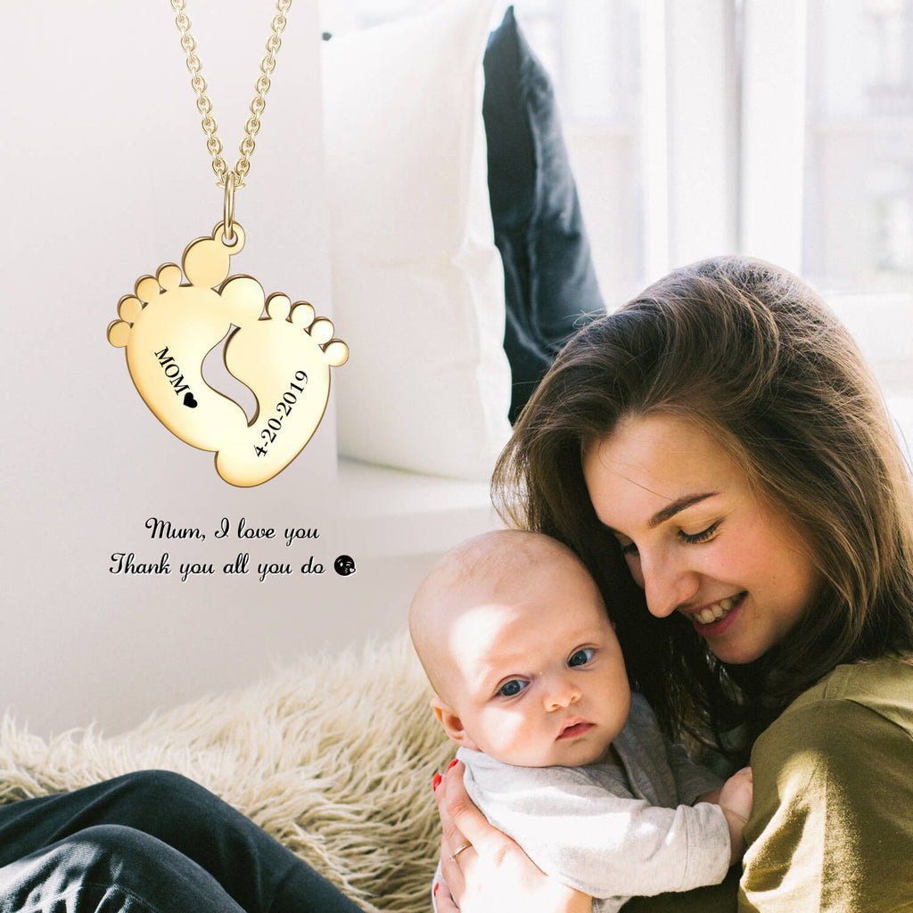 "yafeini Custom Name Necklace Personalized Jewelry Copper 925 Sterling Silver Yellow White Rose Adjustable 16""-20"" - Birthday Hang Tag Memories Necklace, Baby Feet"