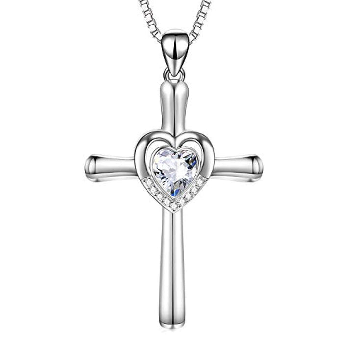 Cross Necklace with Swarovski Crystals Jewelry Infinity Love Cross Necklace Birthday Gifts for Her Women