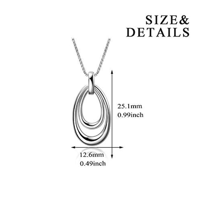 Circle Hoop Necklace 925 Sterling Silver Oval Teardrop Dangle Jewelry for Women Girls 18""