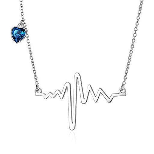 EKG Heartbeat Pendant Necklace with Swarovski Heart Crystal Fine Jewelry Gift for Women Girls
